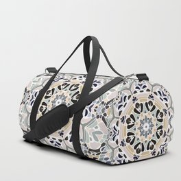 Floral Multicolored Mandala with Light Linen Texture Duffle Bag