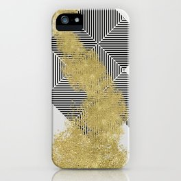 modern gold dust and line pattern design iPhone Case