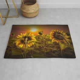 Sunflowers facing the Sunset Rug