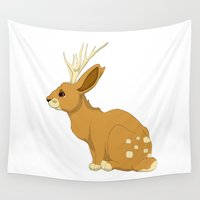 jackalope Wall Tapestries featuring Deerit/Jackalope by Tayarinne