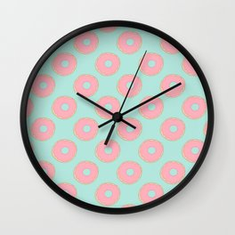 Pink Doodle Donuts Pattern on an aqua blue background Wall Clock