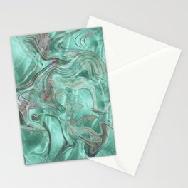 Mint Gem Green Marble Swirl Stationery Cards