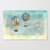 hot air balloons Canvas Prints featuring drifting _ hot air balloons by Vin Zzep