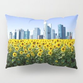 Frankfurt Germany Skyline Sunflower Field Pillow Sham