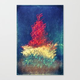 Christmas Tree Lights at Night Canvas Print