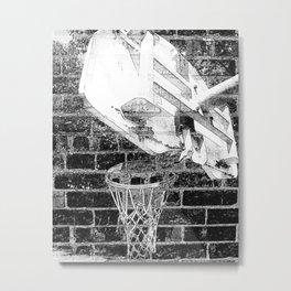 Black and white basketball artwork Metal Print