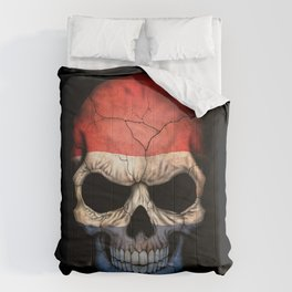 Dark Skull with Flag of The Netherlands Comforters