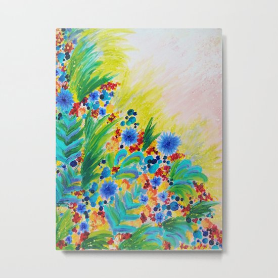 NATURAL ROMANCE - Lovely Bright Floral Garden Sweet Happy Feminine Colorful Rainbow Flowers Painting Metal Print