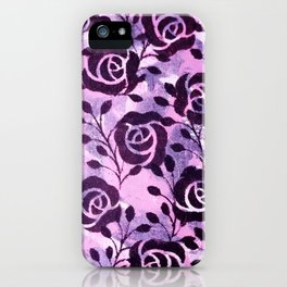 Black  Flowers and messy pink iPhone Case