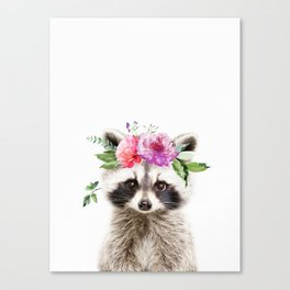 Baby Raccoon with Flower Crown Canvas Print
