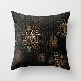 Dark and Orange Circle Weave Pattern Throw Pillow