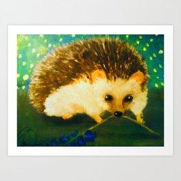 Hedgehog with Bluebells (Painting) Art Print