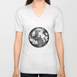 Negative Full Moon Print, by Christy Nyboer Unisex V-Neck