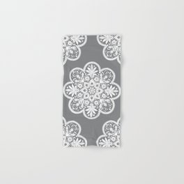 Floral Doily Pattern | Grey and White Hand & Bath Towel