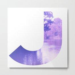 """""""J"""" Initial Stream Metal Print"""