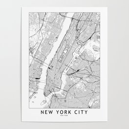 New York City White Map Poster
