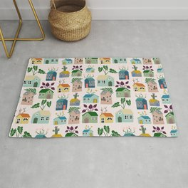 Tiny Cottages with plants Rug