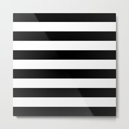 Black White Stripe Minimalistic Metal Print
