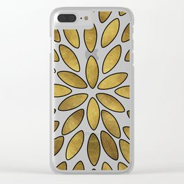 Classic Golden Flower Leaves Pattern Clear iPhone Case
