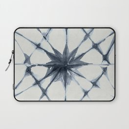 Shibori Starburst Indigo Blue on Lunar Gray Laptop Sleeve