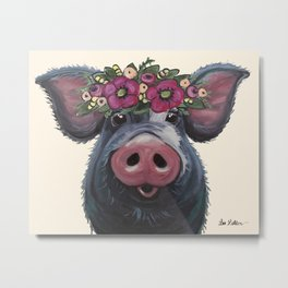 Pig Art, LuLu pig with flower crown art Metal Print