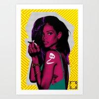 rihanna Art Prints featuring RIHANNA by FA 23