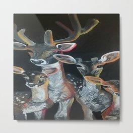 Deers in spotlight Metal Print