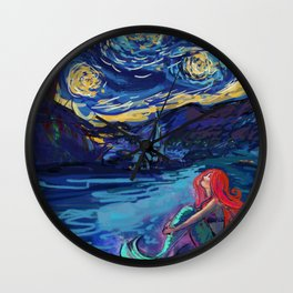 Starry Starry Night with Little Mermaid Wall Clock