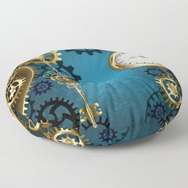Turquoise Background with Gears ( Steampunk ) Floor Pillow