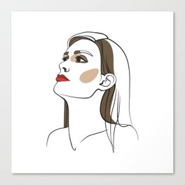 Woman with long hair and red lipstick. Abstract face. Fashion illustration Canvas Print