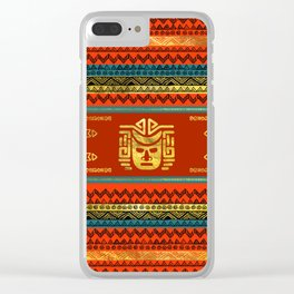 Golden  Ethnic Mask on Bright Tribal Pattern Clear iPhone Case