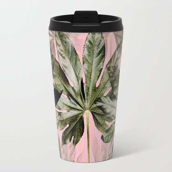 Large green leaves on a pink background - beautiful colors Metal Travel Mug