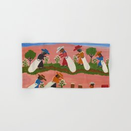 African American Masterpiece 'Six Figures Picking Cotton' folk art painting by Clementine Hunter Hand & Bath Towel