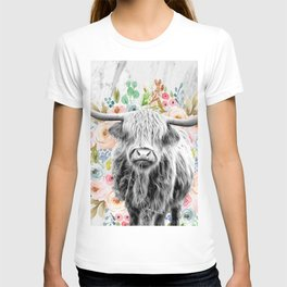 Highland Cow With Flowers on Marble Black and White T-shirt