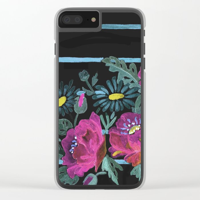 Watercolor Poppies on a striped background. 2 Clear iPhone Case
