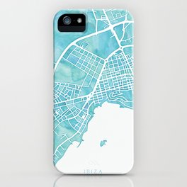 Aquamarine watercolor map of Ibiza, Spain iPhone Case