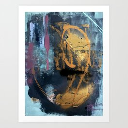Melody: a vibrant, colorful abstract piece in blue, purple, gold, and black Art Print