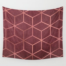 Pink and Rose Gold - Geometric Textured Gradient Cube Design Wall Tapestry