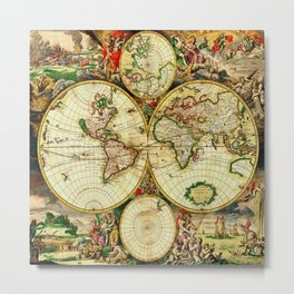Ancient World Map 1689 Metal Print