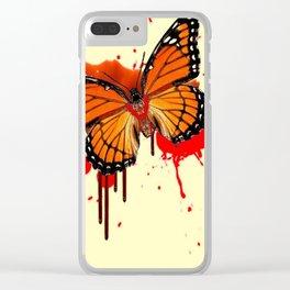 BLOODY BLEEDING ORANGE MONARCH BUTTERFLY Clear iPhone Case