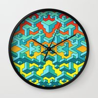 miles davis Wall Clocks featuring Miles and Miles of Squares by Mister Phil