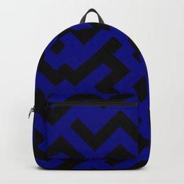 Black and Navy Blue Diagonal Labyrinth Backpack