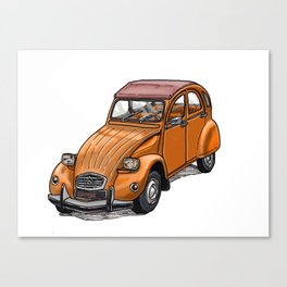 Orange 2CV Canvas Print
