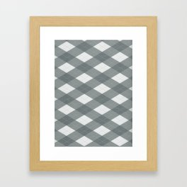 PPG Night Watch Pewter Green Argyle, Plaid Diamond Pattern Framed Art Print