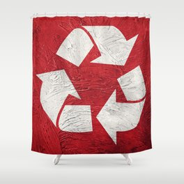 Recycle symbol on Grunge background. Vintage style. Shower Curtain