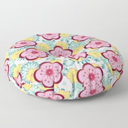 Sweet Plum Flower with Jade Snow Flake Floor Pillow