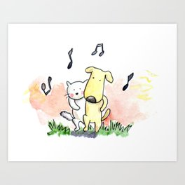 White Cat and Little Bread are friends! Art Print
