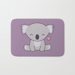 Kawaii Cute Koala Bear With Heart Bath Mat