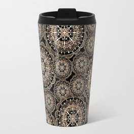 Rose Gold on Black Mandala Repeated Pattern Travel Mug