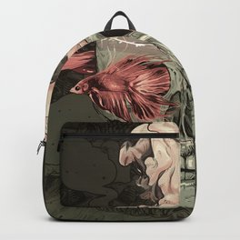 Red Fish and Smokey Skull Backpack
